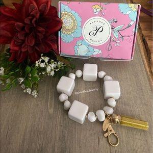 Plunder Sarai Bracelet - White block & oblong bead